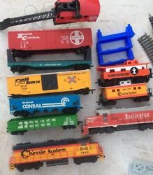 Vintage Train Locomotives Cars Track And Accesories USED GOOD FOR PARTS $65.00
