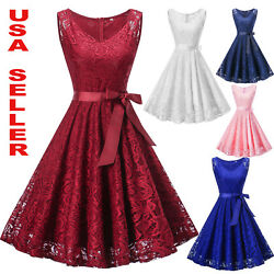 Women#x27;s Lace Formal Floral Cocktail Party Wedding Evening Gala Bridesmaid Dress $20.99