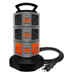 Surge Protector Power Strip with 10 outlets 4 USB Ports 6 ft Cord Wire Extension $24.99