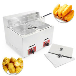 Commercial Countertop Gas Fryer 2 Baskets Deep Fryer GF 72 Propane LPG 10L*2