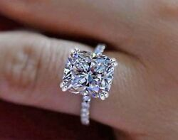 Certified 2.40ct Cushion Diamond Engagement Ring Wedding Ring 14K White Gold