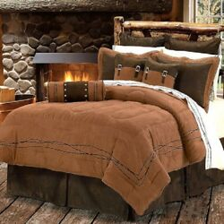 Western Cabin Country Bedding Decor Comforter Set Brown Barbwire Barbed Wire