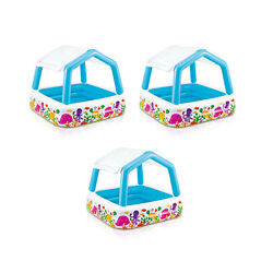 Intex Inflatable Ocean Scene Sun Shade Kids Swimming Pool With Canopy (3 Pack)