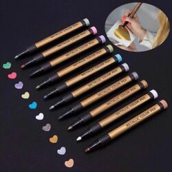 8 Colors Set Paint Marker Pens Metallic Sheen Glitter Calligraphy Arts DIY Album