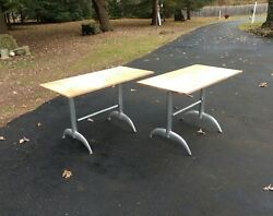 Mid Century Modern Brushed Aluminum Table Pair Bases $210.00