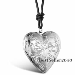 Floral Love Heart Charm Photo Picture Locket Pendant Cord Necklace Womens Gift $8.99