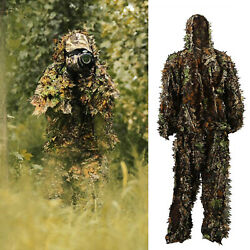 3D Ghillie Suit Set Sniper Train Leaf Jungle Forest Wood Hunting Camouflage $19.85