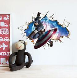 US 3D Wall Stickers Captain America Cartoon Room Decal Wallpaper Removable $8.99