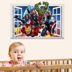 US 3D Wall Stickers The Avengers Cartoon Room Decal Wallpaper Removable $8.99