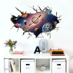 US 3D Wall Stickers Space Universe Window Room Decal Wallpaper Removable $9.99