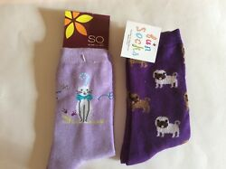 2 PAIRS WOMENS NOVELTY SOCKS * CATS DOGS * PURPLE LILAC * NWT * CUTE $10.99