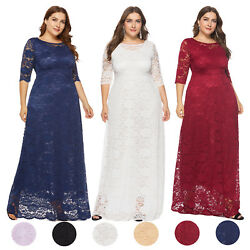 Women's Plus Size Maxi Cocktail Party Wedding Evening Formal Lace Long Dresses