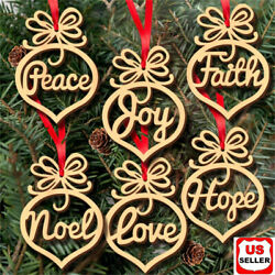 6 Pcs Christmas Decorations Wooden Ornament Xmas Tree Hanging Pendant Ornament $4.98
