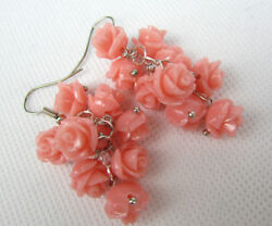 2018 new Pink Roses Real Coral Earring shivering earbob Carved Jewelry party