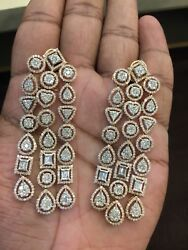 9.67 Cts Round Baguette Cut Natural Diamonds Chandelier Earrings In 14Karat Gold