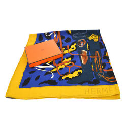 Authentic HERMES Vintage Logos Scarf Stole Cashmere Silk Yellow Blue RK12958