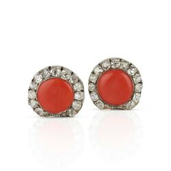 Antique 14k  Salmon Coral and Old Cut Diamond