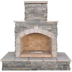 78 in. Gray Cultured Stone Propane Gas Outdoor Fireplace