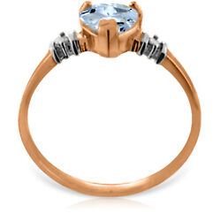 14K Solid Rose Gold Anniversary Fashion Ring with Natural Aquamarine
