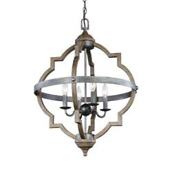 4 Light Hall Foyer Pendant Ceiling Lighting Fixture Candle Cage Gray Rustic Home