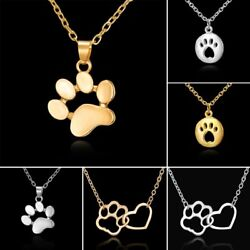 Women Fashion Cute Pets Dogs Footprints Cat Paw Pendant Chain Necklace Jewelry $1.19