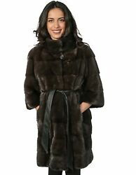 MINK FUR COAT WOMAN DYED AURORA HORIZONTAL COLLAR AND SLEEVES piping 34