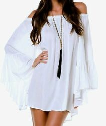 Elan Ruffle Bell Sleeve Off Shoulder Tunic Top Dress RY555 One Size Rayon Poly $24.95