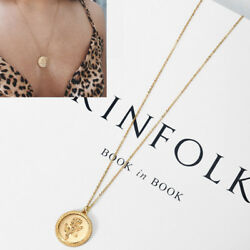 Gold Alloy Rose Flower Round Coin Pendant Long Chain Necklace Jewelry for Women