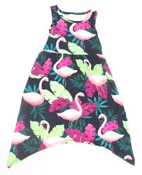 Gymboree Girls Dress Pink Flamingo Sunny Adventures Blue Tropical Print Sz 4 XS