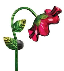 Red Glass Bell Flower Solar Light Small Garden Stake NEW recharge battery accent $21.00