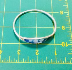 Vintage Bracelet Marked Signed Silver Mexico Inlay Abalone FlowerWhite