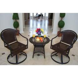 Outdoor Wicker Bistro Set Round Table Chair Seat Patio Garden Furniture Tuscany