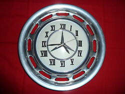 VINTAGE GARAGE OR SHE SHED  MANCAVE MERCEDES BENZ  METAL HUBCAP CLOCK