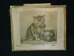 Antique Cat Etching Silk Fabric Katze Und Milchtopf Vintage Kitten Milk Pot Art