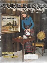 Workbench Magazine August 1975 Build a Fireplace Queen Anne Table and More!