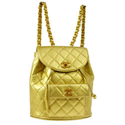 Auth CHANEL Quilted CC Chain Drawstring Backpack Bag Gold Leather VTG A39055