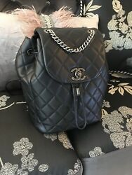 CHANEL FLAP QUILTED BLACK CC LEATHER BACKPACK FW 2016 RHODIUM HARDWARE RARE