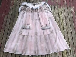Woman's $$$$ Rare Light Pink Sheared Extra Long Mink Coat with Fox Collar Size M