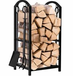 Fireplace Tool Kit Log Holder Rack Storage Fire Pit Wrought Iron Indoor Outdoor