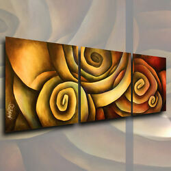 Abstract Original Painting MODERN Art Contemporary DECOR Mix Lang Triptych $549.00