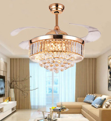 Crystal LED Chandelier Invisible Ceiling Fan Light Ceiling Lamp w Remote