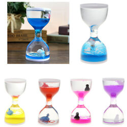 Fish Dolphin Floating Liquid Motion Hourglass Bubbler Timer Desk Fidget Toy Gift $8.99