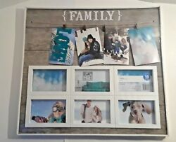 Country Rustic Family Picture Frame Gray amp; White Modern Farmhouse Decor Burlap $39.99