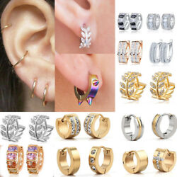 1 Pairs Fashion WomenMen Stainless Steel Hoop Earrings Circle Round Jewelry
