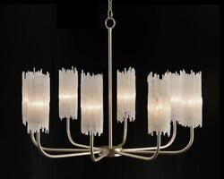 39quot; W Chandelier Natural One of a Kind Selenite Crystal Wands Silver Leaf $5359.00