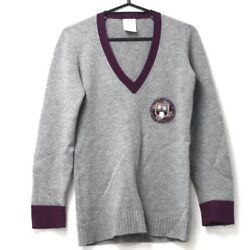 AUTHENTIC CHANEL 07A V-Neck Cashmere Sweater with Badge GrayPurple