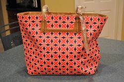 Stella & Dot How Does She Do It Red Navy Medallion Shoulder Bag Purse Tote NEW
