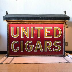 Original 5 Foot Long United Cigars Double Sided Sign with Metal Awning Lighted