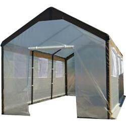 Gable Greenhouse Roll Up Windows Walk In UV Treated Cover Garden 10X20x9 Ft New
