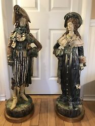 A Pair Of Large Antique Ceramic Figures Signed Eug. Ladreyt France Circa 1880